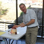 David with his favourite type of cake - banana cake!